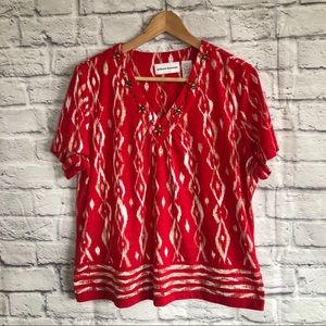 Alfred Dunner Red Embellished Blouse / Top
